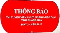 Thông báo Thi tuyển viên chức ngành giáo dục tỉnh Quảng Nam