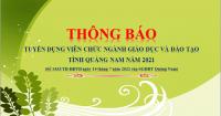Thông báo Tuyển dụng viên chức ngành giáo dục và đào tạo tỉnh Quảng Nam năm 2021