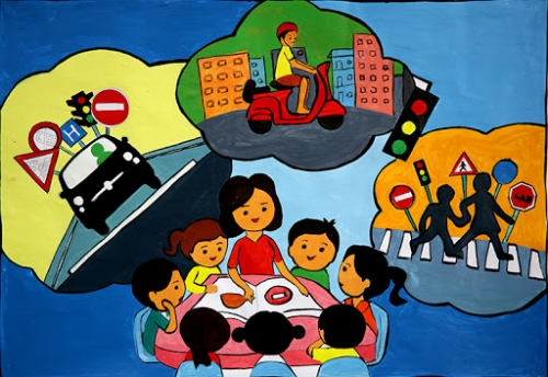 Trường THCS Quế Phú tổ chức sinh hoạt ngoại khóa ATGT và phòng chống tệ nạn xã hội.